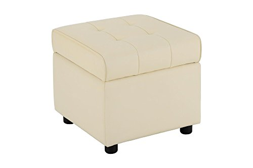 DHP Emily Square Storage Ottoman, Modern Look with Tufted Design, Lightweight, Vanilla Faux Leather