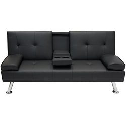 Modern Entertainment Futon Black Sofa Bed Fold Up & Down Recliner, Convertible Into Sleeper, ...