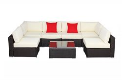 Do4U 7pcs Outdoor Patio Garden Rattan Wicker Sofa Set Sectional Furniture Set (Expresso-8004)