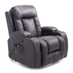 HOMCOM Luxury Faux Leather Heated Vibrating Massage Recliner Chair with Remote – Dark Brown