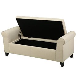 Great Deal Furniture Danbury 296872 Beige Fabric Armed Storage Ottoman Bench