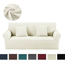 Argstar Premium Knit Slip Cover for Sofa Couch Spandex Stretch 3 Seater Slipcover Cream White