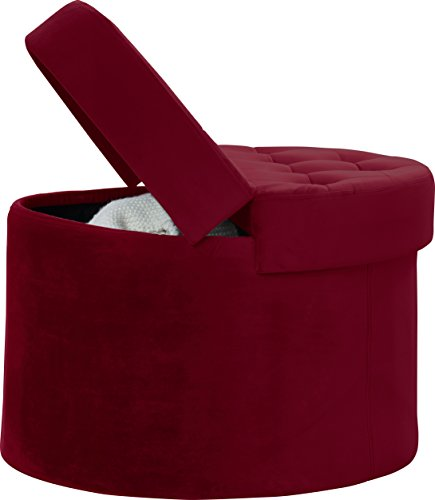 Decor Venue Foldable Velvet Tufted Large Round Storage Ottoman Foot Rest  Stool/Seat With Removab