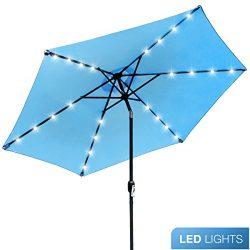 Sorbus LED Outdoor Umbrella, 10 ft Patio Umbrella LED Solar Power, with Tilt Adjustment and Cran ...