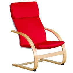 ECR4Kids Natural Bentwood Teacher Comfort Arm Chair for Adults, Birch Finish with Red Cushions