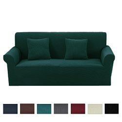 Argstar Premium Knit Love Seat Cover Elastic for Loveseat Slipcover Dark Green