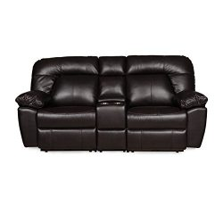 Decatur Series 82″L Two Seat Reclining Sofa with Center Storage Two-Cup Holder Console. Pe ...