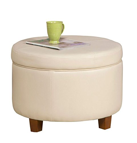 Kinfine HomePop Large Leatherette Round Storage Ottoman with Removeable Lid, Ivory