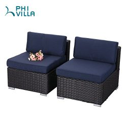 PHI VILLA 2-Piece Patio Furniture Set Rattan Sectional Sofa with Seat Cushions, Blue