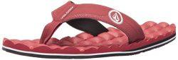 Volcom Men's Recliner Flip Flop Sandal, Crimson, 12 B US