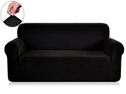 Chunyi Jacquard Sofa Cover 1-Piece Polyester Spandex Fabric Slipcovers (Loveseat, Black)