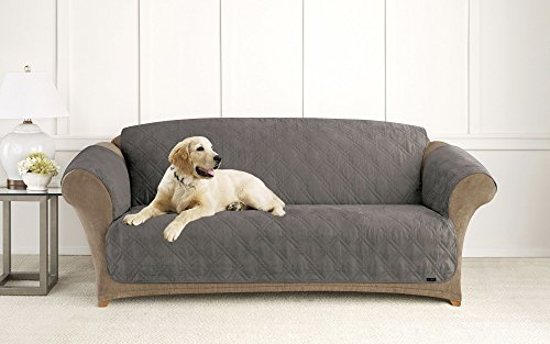 Sure Fit Microfiber Pet Sofa Slipcover Dark Gray