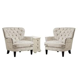 Home Square 3 Piece Living Room Set with End Table and (Set of 2) Accent Arm Chair in Paris Scri ...