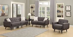 AC Pacific Crystal Collection Upholstered Charcoal Mid-Century 3-Piece Living Room Set with Tuft ...