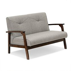 FURINNO W857LGY Mid Century Vintage Compact Loveseat, Light Grey