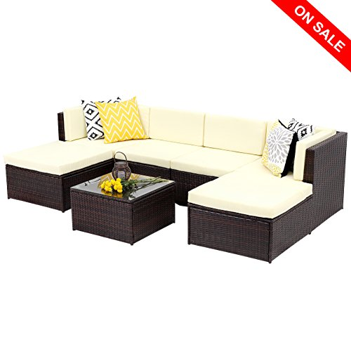 Wisteria Lane Outdoor Rattan Sectional Sofa,7-Piece Patio Furniture Set Chair Couch Ottoman& ...