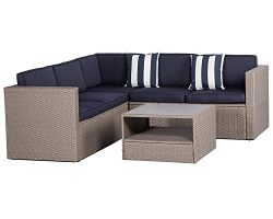 Solaura Outdoor 4-Piece Sofa Sectional Set All Weather Warm Grey Wicker with Nautical Navy Blue  ...