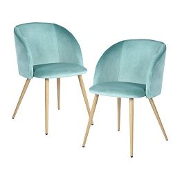 EGGREE Mid-Century Velvet Accent Living Room Arm Chair Upholstered Leisure Club Chair Set of 2 w ...