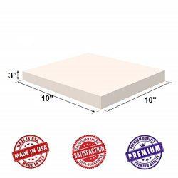 Upholstery Visco Memory Foam Square Sheet- 3.5 lb High Density 3″x10″x10″- Lux ...