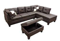 WINPEX 3 Piece Nail Head Faux Leather Sectional Sofa + Storage Ottoman Foot Stool | Right Facing ...