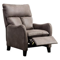 BONZY Recliner Chair Microfiber English Roll Arm Pushback Recliner – Chocolate