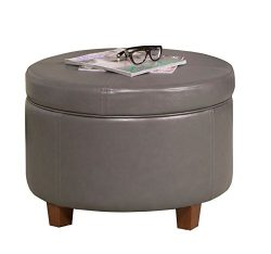 HomePop Large Leatherette Round Storage Ottoman with Removeable Lid, Charcoal Gray