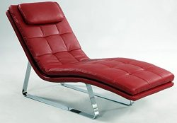 Milan Impala Red/Chrome Chaise Lounge, Red