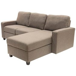 Serta Palisades Reclining Sectional with Right Storage Chaise – Beige