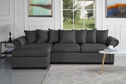 Modern Large Tufted Linen Fabric Sectional Sofa, Scroll Arm L-Shape Couch (Dark Grey)
