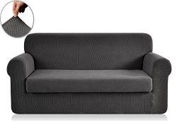 CHUN YI 2-Piece Jacquard Polyester Spandex Slipcover (Sofa, Gray)