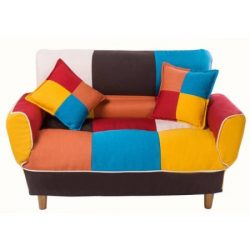 Contemporary Colorful Convertible Sleeper Sofa Split-Back Sofa Futon Made from Sturdy Wood, Livi ...