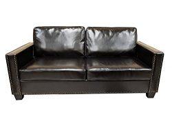 Premium Faux Leather Sofa Loveseat Couch Nail Head Trim Removable Cushion | Espresso
