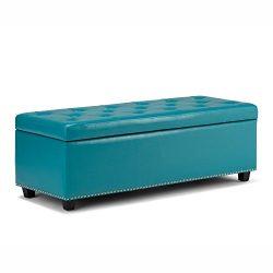 Simpli Home Hamilton Rectangular Storage Ottoman Bench, Large, Mediterranean Blue