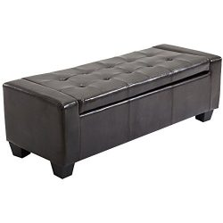 "HOMCOM Large 51"" Tufted Faux Leather Storage Ottoman Bench Couch – Dark Brown"