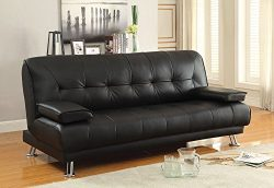 Coaster Casual Faux Leather Convertible Sofa Bed with Removable Armrests and Chrome Base, Black
