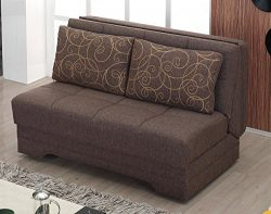 BEYAN El Paso Collection Armless Convertible Love Seat/Sleeper with Easy Access Storage Space, I ...