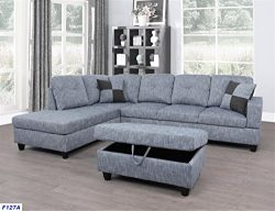 Beverly Fine Furniture F127A Left Facing Linen Russes Sectional Sofa Set, Grey
