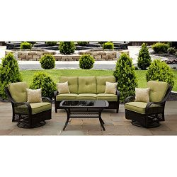 Hanover ORLEANS4PCSW Orleans 4-Piece Outdoor Lounging Set, Includes Sofa, 2 Swivel-Gliders and 4 ...