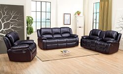 Betsy Furniture 3-PC Bonded Leather Recliner Set Living Room Set in Black, Sofa + Loveseat + Cha ...