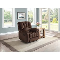 Mainstays Recliner with Pocketed Comfort Coils, Brown Fabric, Dimensions: 34″W x 37.5̸ ...