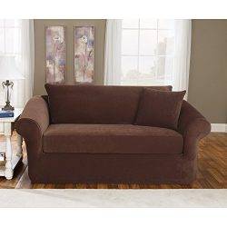 Sure Fit Stretch Pique 3-Piece  – Loveseat Slipcover  – Taupe (SF36144)
