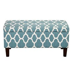 HomePop Large Storage Woven Fabric Ottoman, Teal Blue Geometric