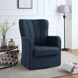Modern Swivel Armchair, Rotating Accent Chair for Living Room with Pleated Back (Dark Blue)