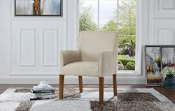 Modern Sleek Linen Fabric Accent Armchair, Living Room Chair (Beige)