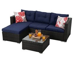 PHI VILLA 3-Piece Outdoor Rattan Sectional Sofa- Patio Wicker Furniture Set, Blue