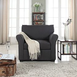 Classic and Traditional Linen Fabric Accent Chair – Living Room Armchair (Dark Grey)