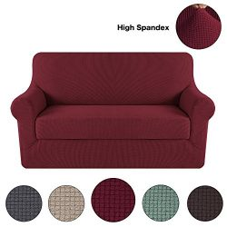 Turquoize Jacquard 2-Pieces Loveseat Slipcovers Sofa Protector Spandex Polyester Slipcover Stret ...