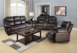 Lifestyle Bonded Leather Sofa, Loveseat, Chair with Drop Down Table, 5 Recliners, 1 Set Brown, 3 ...