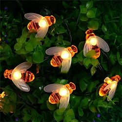 LiPing 30 LED Solar Powered Outdoor String Honey Bee Shape Warm Decorative Lights- Light Outdoor ...