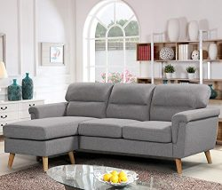 Harper&Bright Designs Modern Linen Fabric Sectional Sofa L Shape Couch with Reversible Chais ...